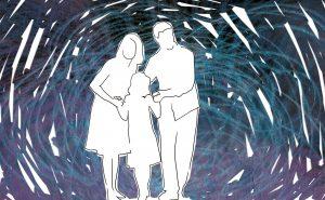 ilustración de una familia de tres personas en blanco con fondo de colores