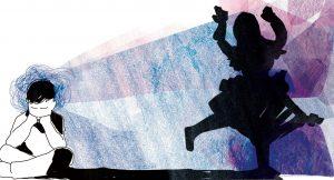 ilustración de un niño sentado que proyecta una sombra de niña