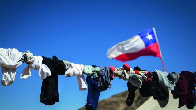 una bandera chilena