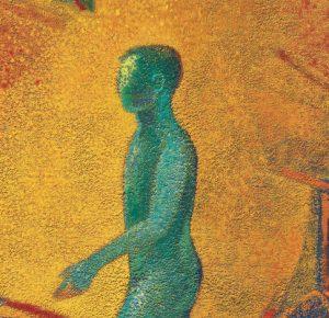obra de Benjamín Lira muestra la silueta de un hombre pintada de color verde sobre un fondo naranja