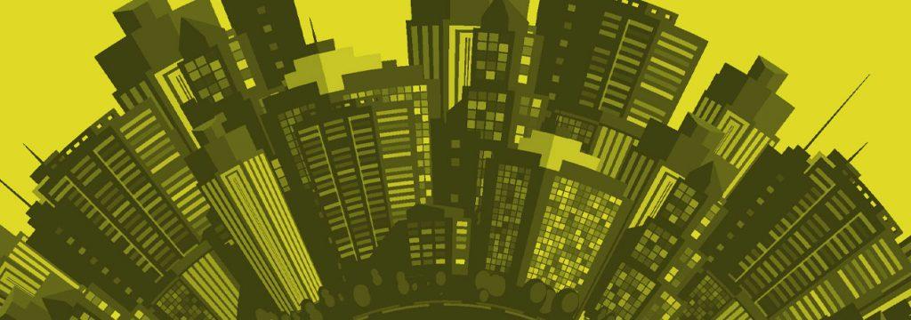 ilustración de edificios amontonados