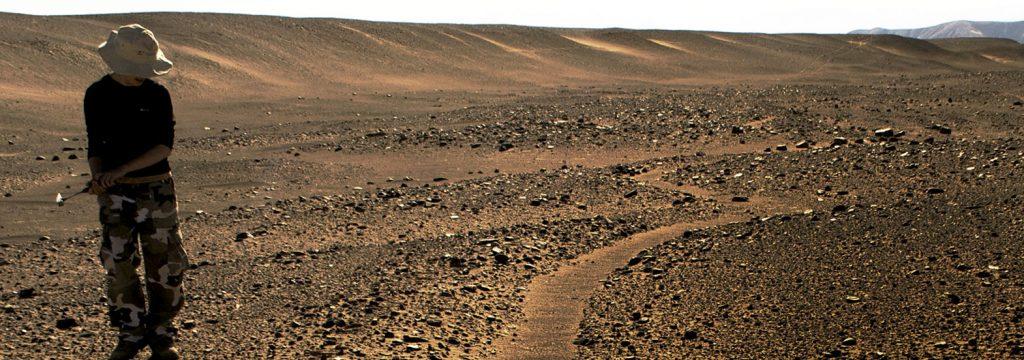 persona parada en medio de un paisaje desértico