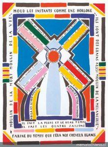 """afiche con el poema de Vicente Huidobro """"Moulin"""""""