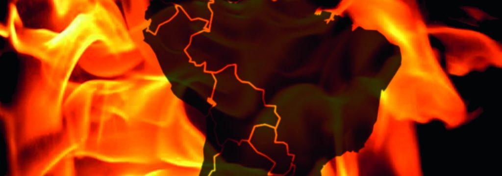 ilustración del mapa de América Latina en llamas