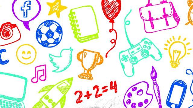 ilustración que muestra diversos objetos que forman parte de la educación de los niños