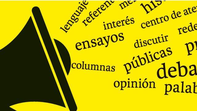 ilustración de un altavoz y diversas palabras