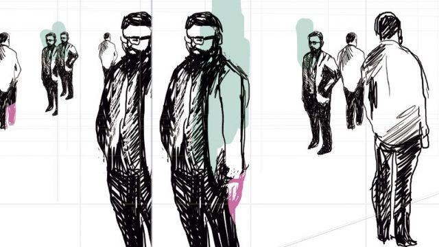ilustración que muestra repetidas veces a un hombre parado, alusión a Gilles Lipovetsky