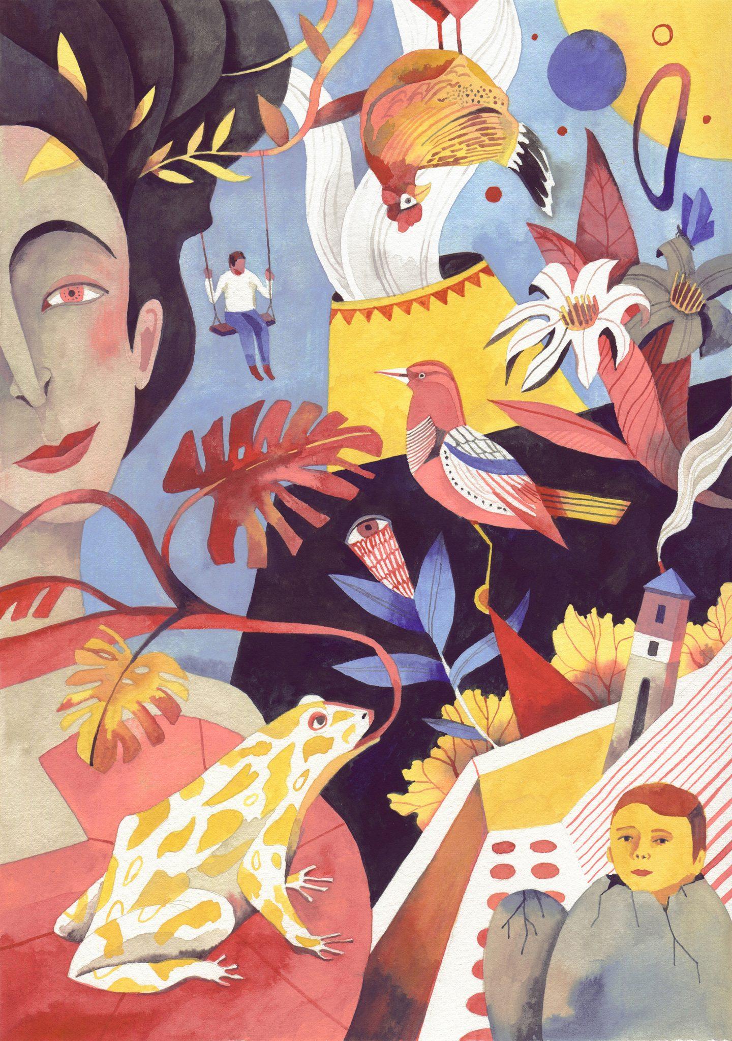 ilustración de Luisa Rivera donde aparecen diversos motivos: una mujer, personas, flores, pajaros, etc.