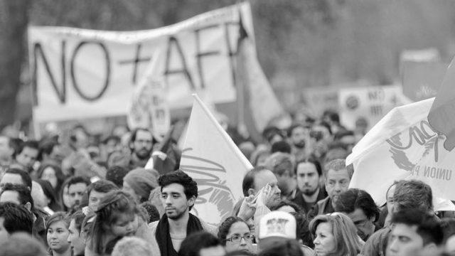 manifestacion no mas afp, para la reforma del sistema de pensiones