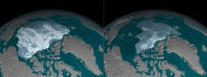 fotografía muestra el polo ártico en un antes y después: con hielo y luego el derretimiento