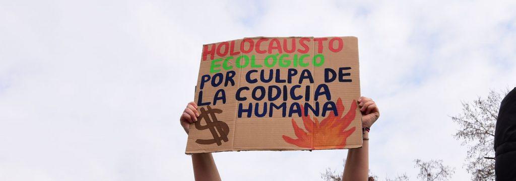 """cartel que dice """"holocausto ecológico culpa de la codicia human"""""""
