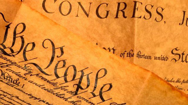 manuscrito del original de la constitución de EEUU