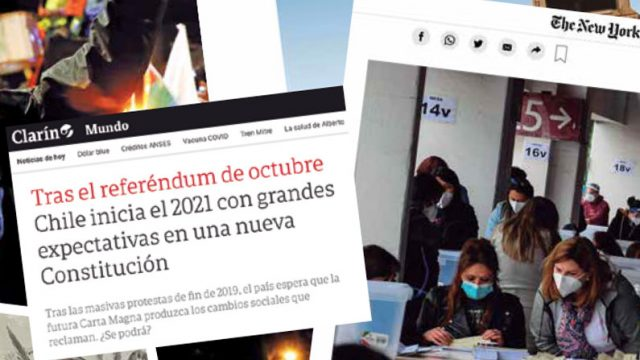 collage de fotos de prensa internacional que hacen alusión a Chile