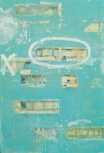 DOMINÓ VII. Óleo y resina sobre imagen digital en madera, 97 x 65 cm. Obra Hernán Gana