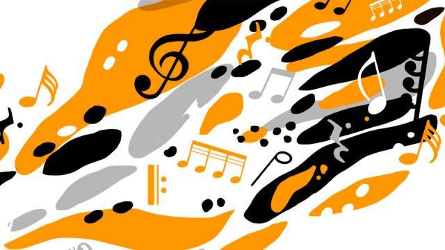 ilustración con notas musicales