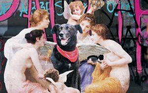 mural con mujeres y ángeles que rodean un perro negro
