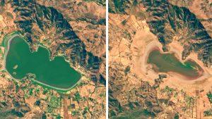 Imagen de la Nasa que muestra la sequía de la laguna Aculeo