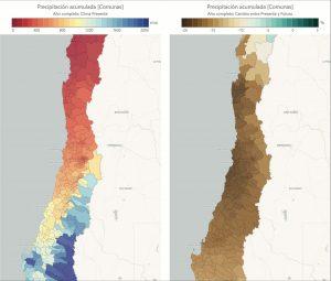 dos mapas de Chile en distinta época que muestra la disminución de las precipitaciones