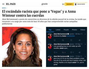 Fotografía de un articulo del diario El Pais donde aparece la periodista Alexi McCammond