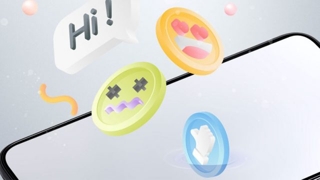 Ilustración del un celular donde salen unos emoticons
