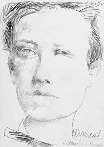 """Roser Bru. """"Rimbaud a Claudia Campaña"""", 2007. Dibujo a lápiz grafito sobre papel, 34 x 24,1 cm."""