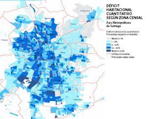 Gráfico que muestra el déficit habitacional en la región metropolitana según zona censal