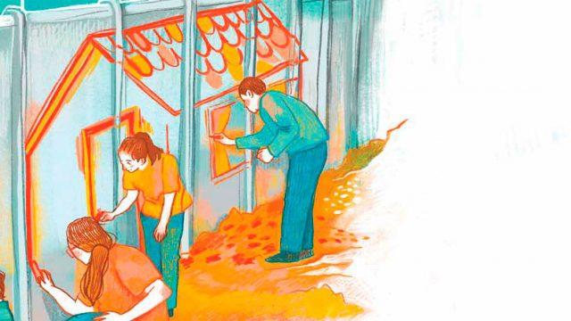 ilustración donde se ve a un hombre, una mujer y un niño pintando una casa sobre una pared