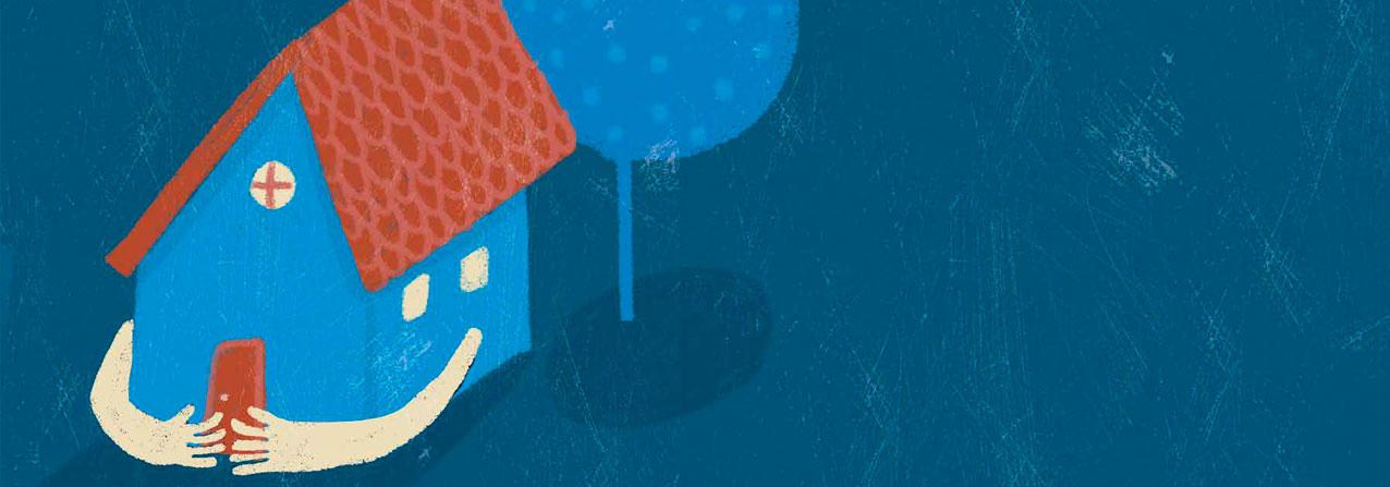 ilustración de una casa con brazos y detrás un arbol